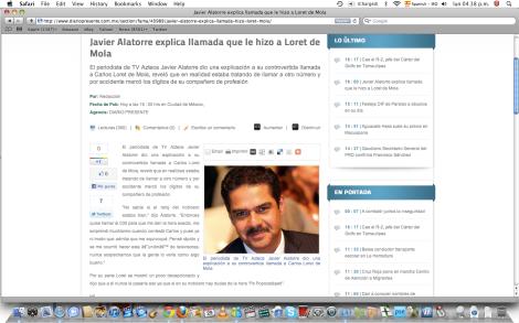 Captura de pantalla proveniente del sitio web del periódico Presente del estado de Tabasco, el cual, aparentemente, publicó una información proveniente de eldeforma.com